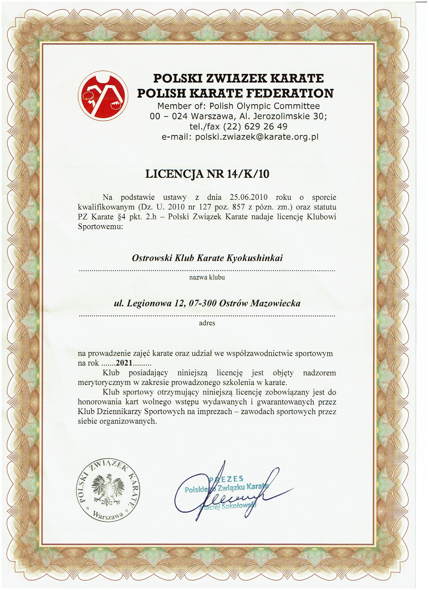 Licencja PZK na 2021 rok.